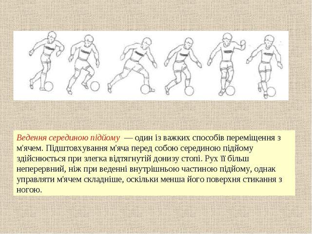 Ведення серединою підйому — один із важких способів переміщення з м'ячем. Під...