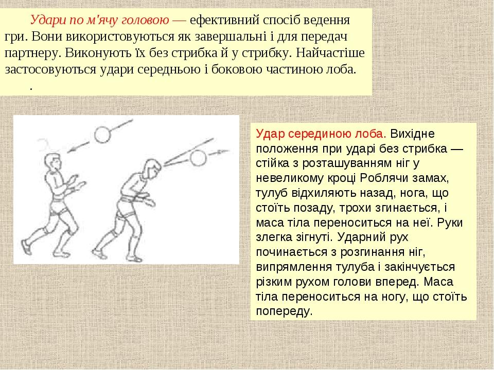 Удари по м'ячу головою — ефективний спосіб ведення гри. Вони використовуються...