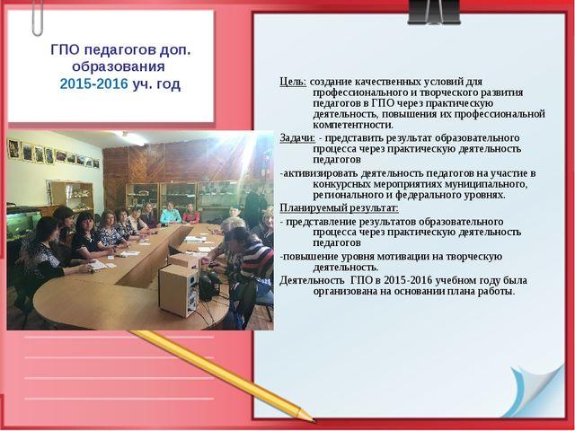 ГПО педагогов доп. образования 2015-2016 уч. год Цель: создание качественных...