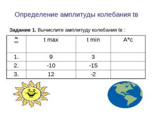 Определение амплитуды колебания tв Задание 1. Вычислите амплитуду колебания t