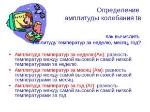 Определение амплитуды колебания tв Как вычислить амплитуду температур за неде