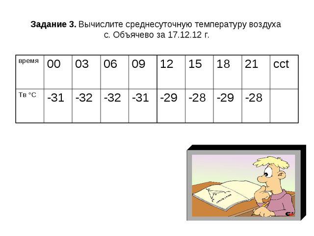 Задание 3. Вычислите среднесуточную температуру воздуха с. Объячево за 17.12....