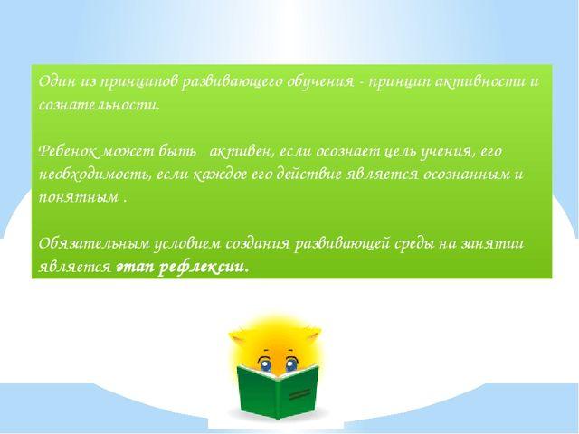 Один из принципов развивающего обучения - принцип активности и сознательности...