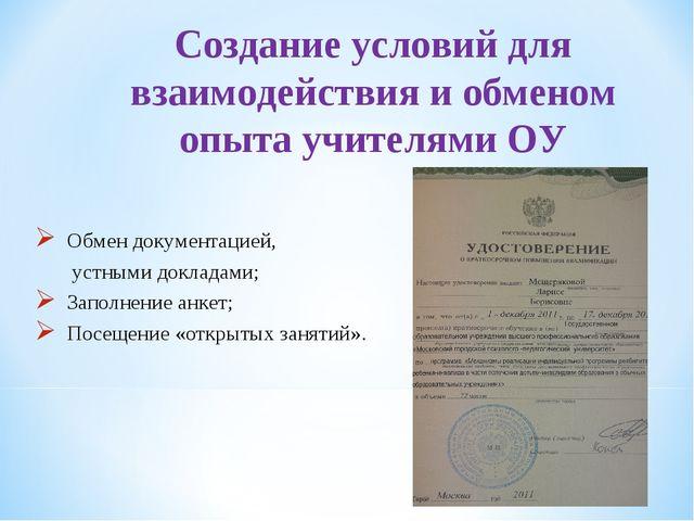 Создание условий для взаимодействия и обменом опыта учителями ОУ Обмен докуме...