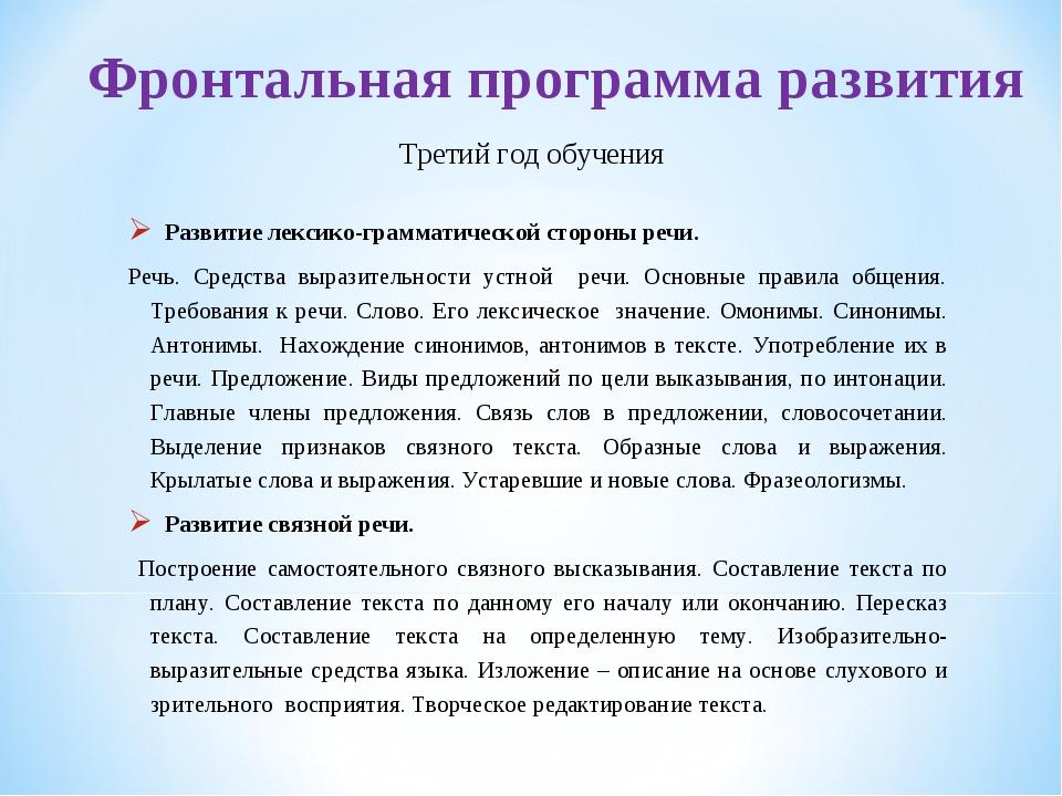 Фронтальная программа развития Развитие лексико-грамматической стороны речи....