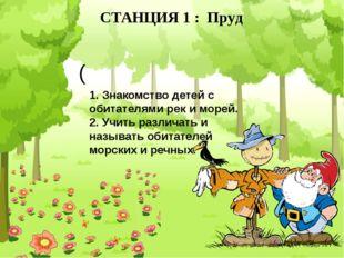 СТАНЦИЯ 1 : Пруд ( 1. Знакомство детей с обитателями рек и морей. 2. Учить ра