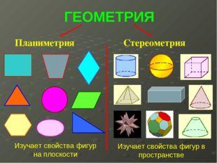 ГЕОМЕТРИЯ Планиметрия Стереометрия Изучает свойства фигур на плоскости Изучае