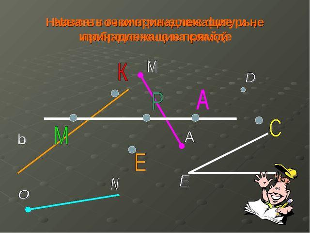 Назвать геометрические фигуры, изображенные на слайде Назвать точки принадлеж...
