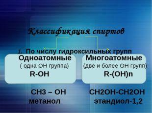 Классификация спиртов 1. По числу гидроксильных групп Одноатомные Многоатомн