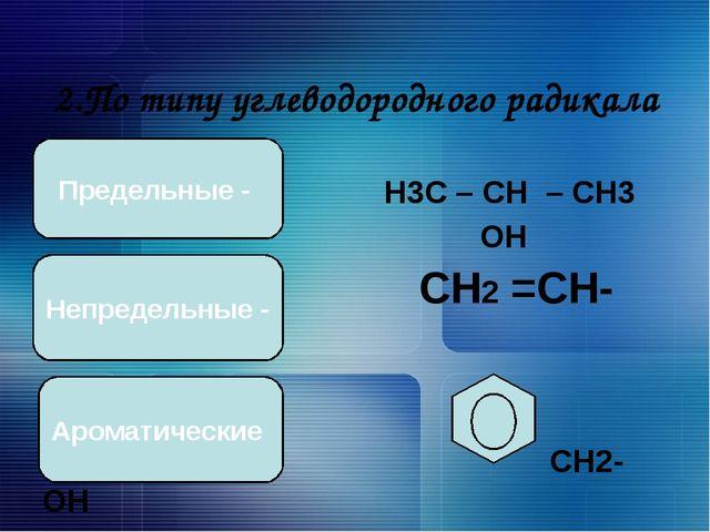 2.По типу углеводородного радикала Н3С – СН – СН3 ОН СН2 =СН-СН2-ОН СН2-ОН П...