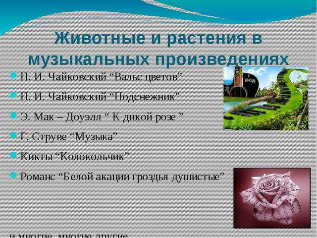 """Животные и растения в музыкальных произведениях П. И. Чайковский """"Вальс цвето..."""