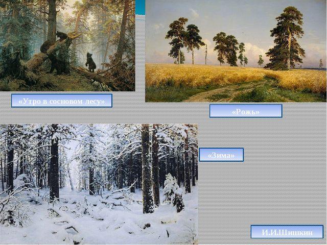 И.И.Шишкин «Утро в сосновом лесу» «Рожь» «Зима»