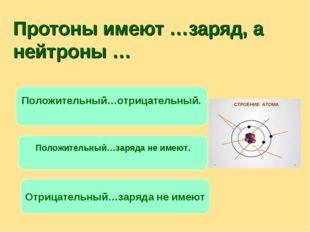 Протоны имеют …заряд, а нейтроны … Положительный…отрицательный. Положительный