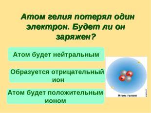 Атом гелия потерял один электрон. Будет ли он заряжен? Атом будет положитель