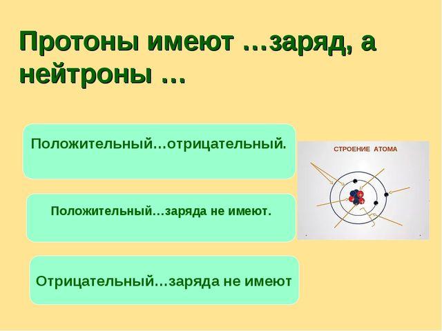 Протоны имеют …заряд, а нейтроны … Положительный…отрицательный. Положительный...