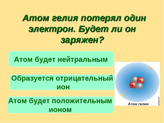 Атом гелия потерял один электрон. Будет ли он заряжен? Атом будет положитель...