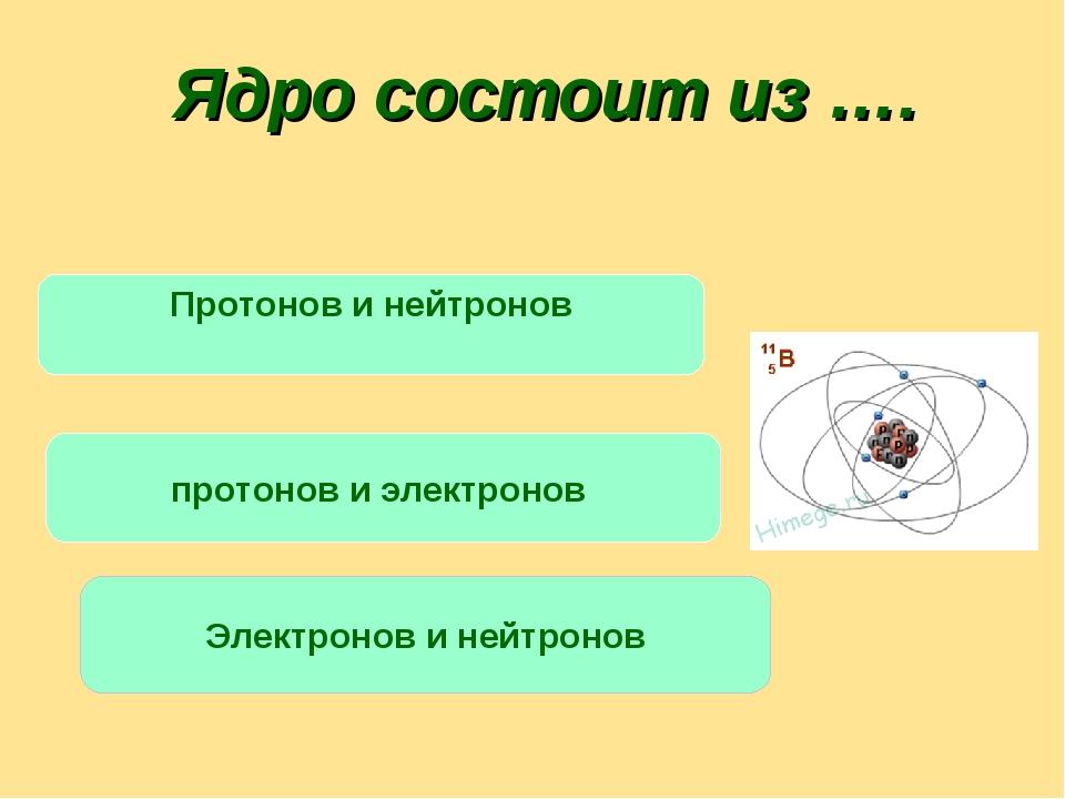 Ядро состоит из …. Протонов и нейтронов протонов и электронов Электронов и не...