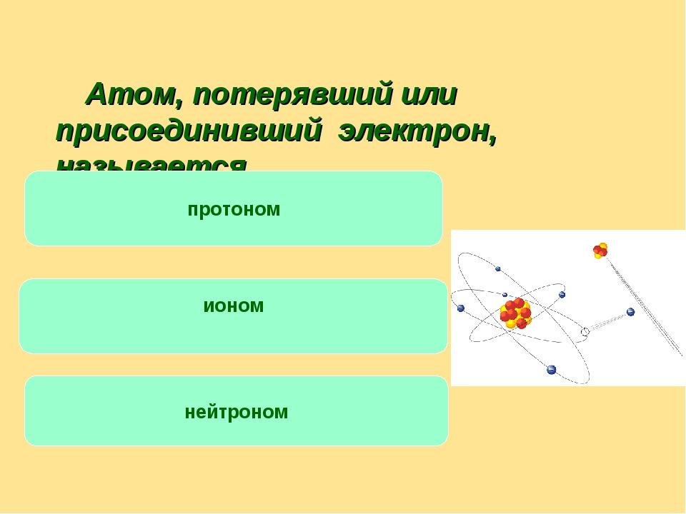 Атом, потерявший или присоединивший электрон, называется … протоном ионом не...