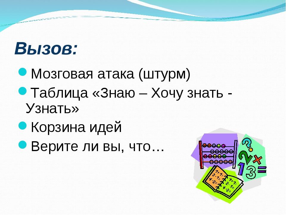 Вызов: Мозговая атака (штурм) Таблица «Знаю – Хочу знать - Узнать» Корзина ид...
