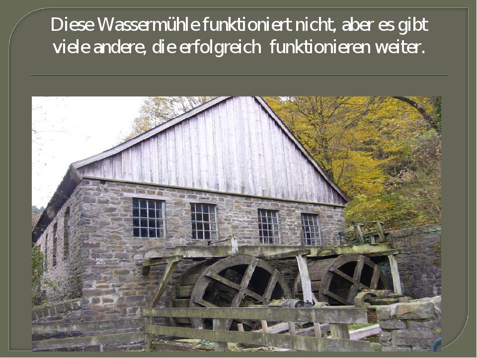 Diese Wassermühle funktioniert nicht, aber es gibt viele andere, die erfolgre...
