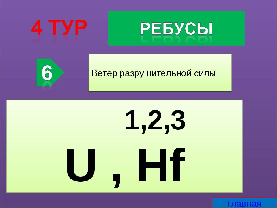 Ветер разрушительной силы 1,2,3 U , Hf главная