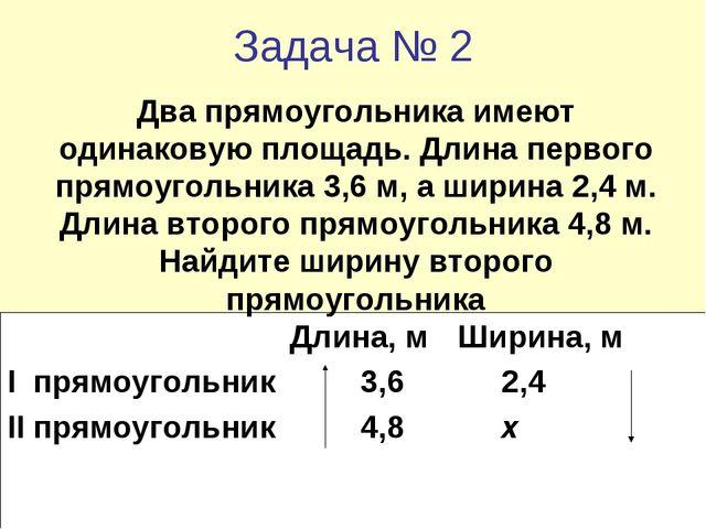 Задача № 2 Длина, м Ширина, м I прямоугольник3,62,4 II прямоугольник...