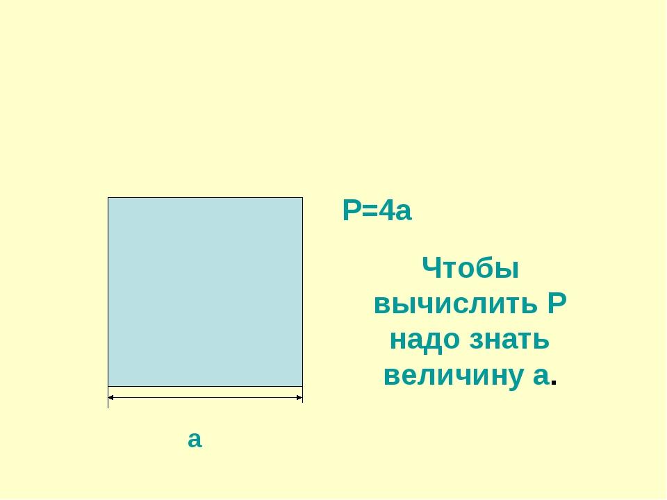 а Р=4а Чтобы вычислить Р надо знать величину а.