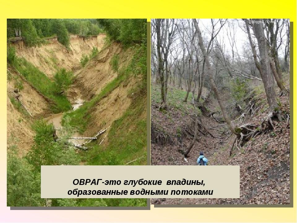 ОВРАГ-это глубокие впадины, образованные водными потоками