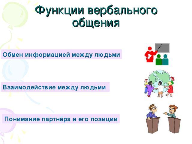Функции вербального общения Обмен информацией между людьми Взаимодействие меж...