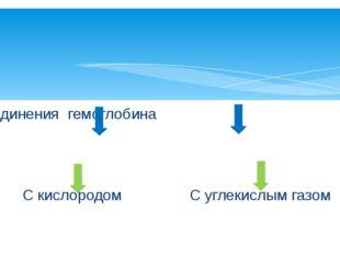 Соединения гемоглобина С кислородом С углекислым газом Оксигемоглобин Карбок