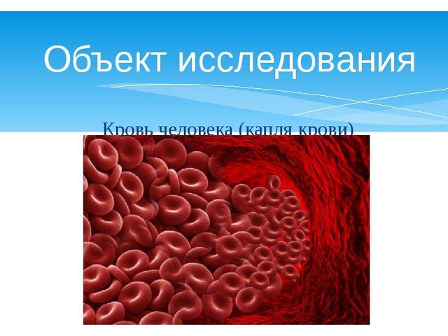 Объект исследования Кровь человека (капля крови)