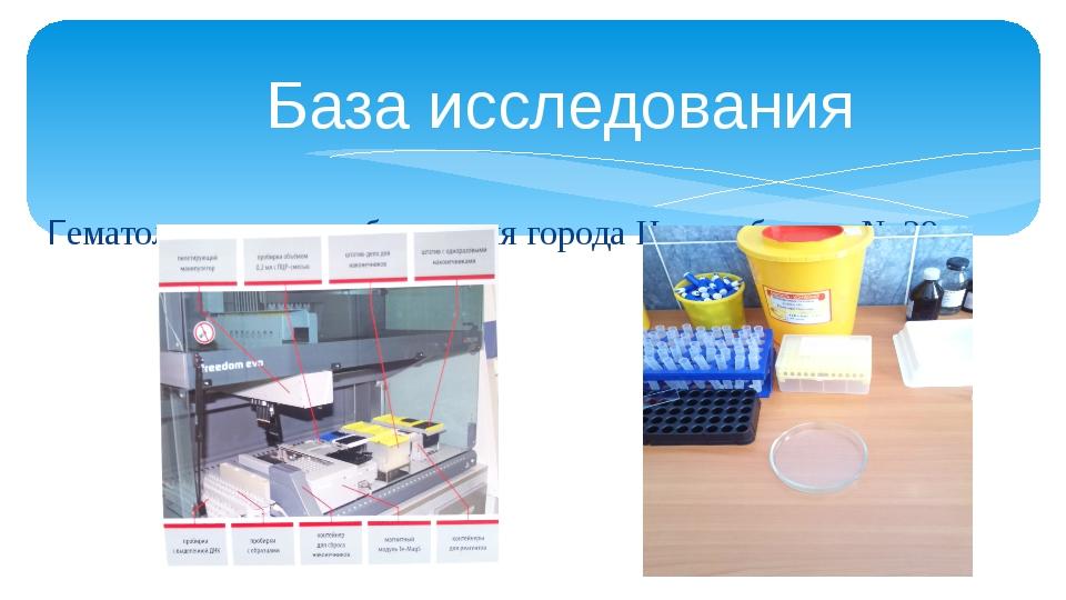 База исследования Гематологическая лаборатория города Новосибирска № 29