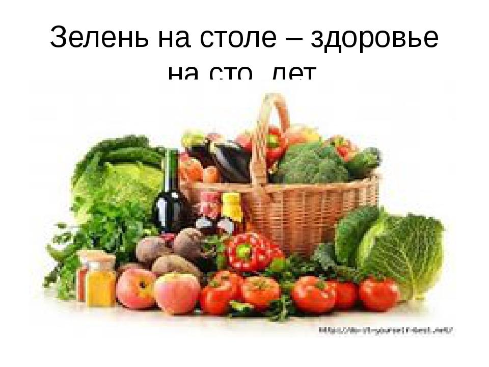 Зелень на столе – здоровье на сто лет.