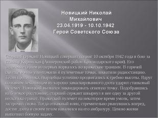 НовицкийНиколай Михайлович 23.04.1919 - 10.10.1942 Герой Советского Союза Ст