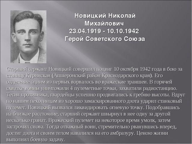 НовицкийНиколай Михайлович 23.04.1919 - 10.10.1942 Герой Советского Союза Ст...