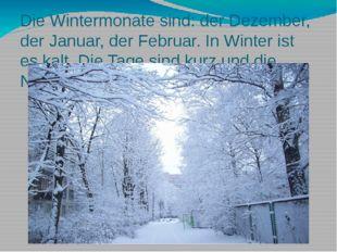 Die Wintermonate sind: der Dezember, der Januar, der Februar. In Winter ist e