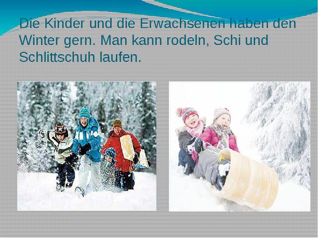 Die Kinder und die Erwachsenen haben den Winter gern. Man kann rodeln, Schi u...