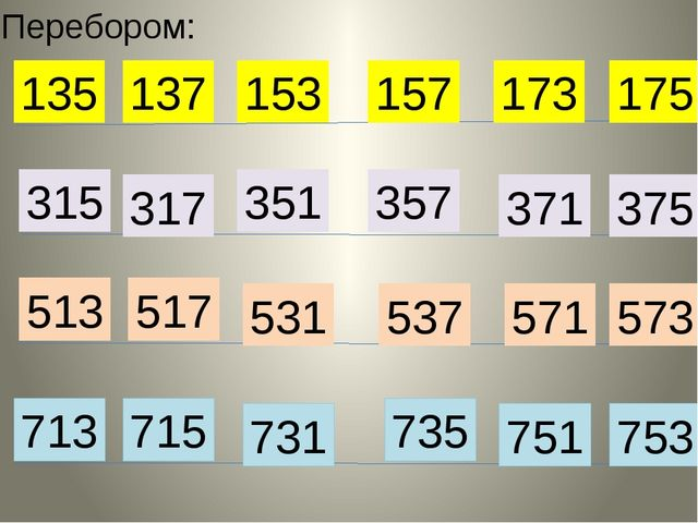 Перебором: 135 137 153 157 173 175 315 317 351 357 371 375 513 517 531 537 57...