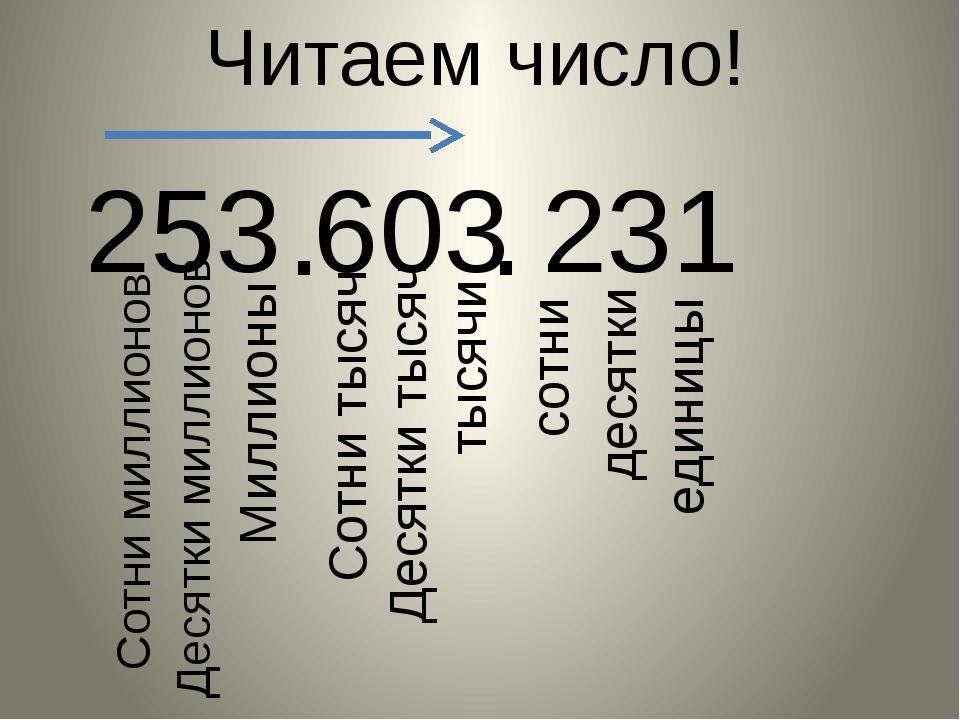 253 603 231 Читаем число! . . единицы десятки сотни тысячи Десятки тысяч Сотн...