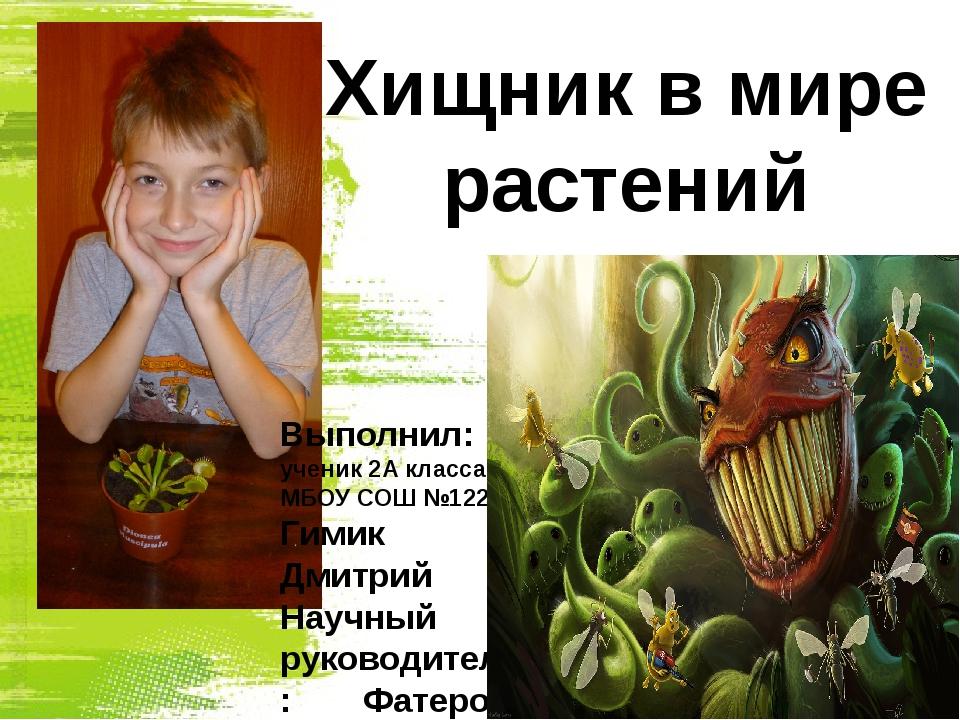 Выполнил: ученик 2А класса МБОУ СОШ №122 Гимик Дмитрий Научный руководитель:...