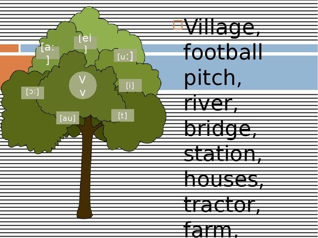 Village, football pitch, river, bridge, station, houses, tractor, farm, horse...