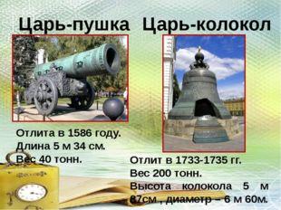 Отлита в 1586 году. Длина 5 м 34 см. Вес 40 тонн. Царь-колокол Царь-пушка Отл