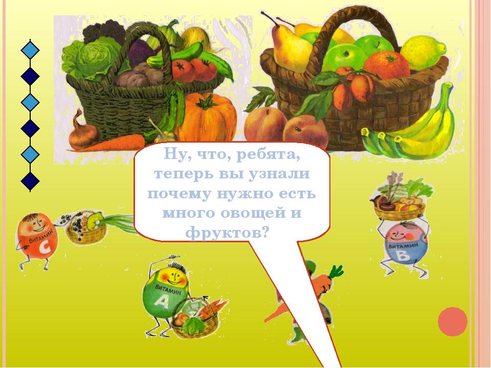 Ну, что, ребята, теперь вы узнали почему нужно есть много овощей и фруктов?