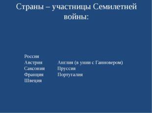 Страны – участницы Семилетней войны: Россия Австрия Англия (в унии с Ганновер