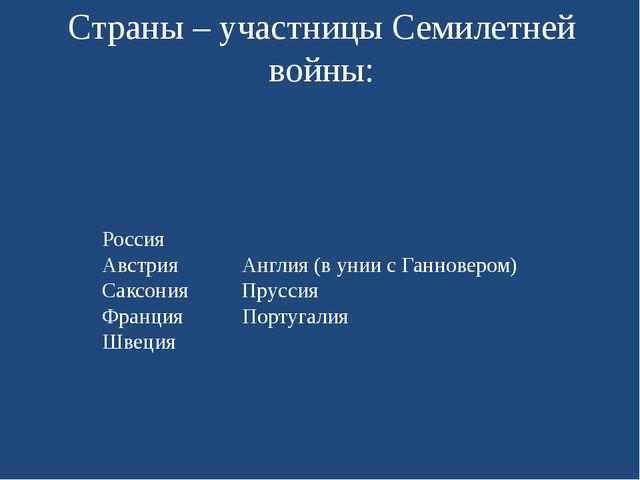 Страны – участницы Семилетней войны: Россия Австрия Англия (в унии с Ганновер...