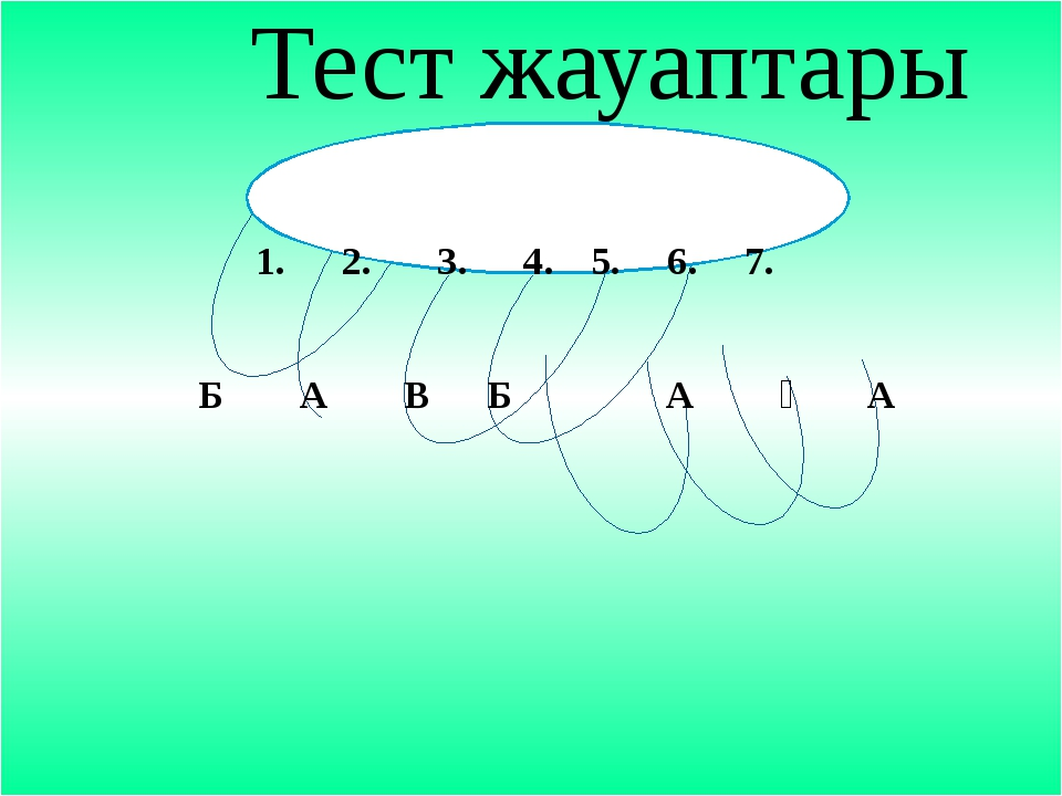 Тест жауаптары 1. 2. 3. 4. 5. 6. 7. Б А В Б А Ә А