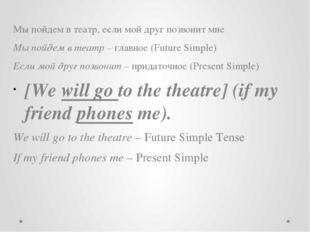 Мы пойдем в театр, если мой друг позвонит мне Мы пойдем в театр – главное (Fu