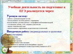 Учебная деятельность по подготовке к ЕГЭ реализуется через: Урочную систему:
