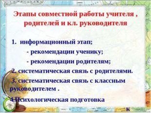 Этапы совместной работы учителя , родителей и кл. руководителя 1. информацион
