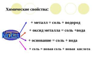 Химические свойства: + соль = новая соль + новая кислота + основание = соль +